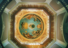 Notre Dame University - Interior Gold Dome - The Administration  Building  -  1882 (Onasill ~ Bill Badzo - 67 M) Tags: university notre dame an ivy league school grandbend in indiana nortredame fighting irish football team basilica scared heart vintage photos old usa us america romancatholic catholic onasill historic district nrhp register campus holly cross congregation architecture neo gothic church vatican painter luigi gregori bell tower tallest attraction tours walking site must see museum pipe organ altar ceiling exterior interior murals stjosephcounty religion famous national landmark unitedstates administrationbuilding dome portico catholicschool mural