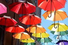 Parapluies France _7270 (ichauvel) Tags: parapluiesmulticolore umbrellas couleurs vives colors installationartistique art lumiéredusoleil light exterieur outside printemps spring saintraphael var provencealpescôtedazur france europe westerneurope alignement