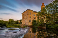 Salts Mill (tbnate) Tags: architecture outdoor outside nature river riveraire aire trees goldenhour clouds waves water tbnate yorkshire westyorkshire saltaire shipley saltsmill salts mill reflection building greenery longexposure nikon nikond750 d750 tamron tamron1530 ultrawideangle ultrawide angle city cityscape landscape park radekkorbal sky vanishingpoint