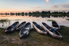 Mekoro in the Okavango Delta (He Ro.) Tags: 2018 africa afrika botswana kanana kananaconcession okavangodelta southernafrica water mokoro mekoro canoe botsuana lagoon sunset