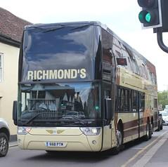 H R Richmond Ltd . Barley , Royston , Hertfordshire . 668PTM ( ex WA09AZJ ) . London Road , Hockrill , Bishop's Stortford , Hertfordshire . Tuesday 02nd-July-2019 . (AndrewHA's) Tags: hertfordshire bishopsstortford bus coach richmond barley royston volvo b12 van hool astrobel 668ptm wa09azj second hand bm coaches west london hayes