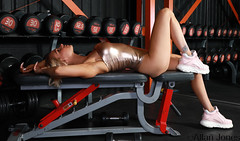 Gym fit (Allan Jones Photographer) Tags: sophieleighlees fitnessmodel model portrait weights gym trainers longlegs fitness toned tanned trained dumbells allanjonesphotographer canon5div fashion