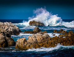 The Grand Spash on the Rock No.5 (CDay DaytimeStudios w /1 Million views) Tags: ca pebblebeach water 17miledrive pacificcoasthighway bluesky california highway1 montereyca pacificgrove carmelca ocean pacificcoast beach sky seascape coastline landscape rocks montereybay