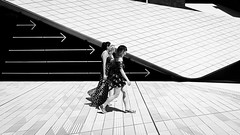 Walk This Way (Sean Batten) Tags: london england unitedkingdom southkensington victoriaandalbertmuseum blackandwhite bw streetphotography street people city urban fuji fujifilm x100f