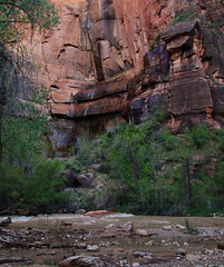 Temple of Sinawava Waterfall (lower portion) and Virgin River - Zion National Park, Southwestern Utah (danjdavis) Tags: templeofsinawava waterfall cliff bluff zionnationalpark nationalpark utah virginriver river