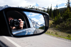 DSCF4426 (Jagot) Tags: alberta canada car countryside fujifilmxt20 fujinonxf18mmf2r mirror mountains pine roadtrip rockies self snow trees reflection lake