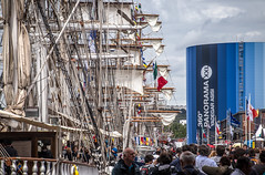 """sails, rigging, crowds along the Seine River - its the Rouen Armada (Tall ships), Rouen, Seine-Maritime, Normandie, France (grumpybaldprof) Tags: """"rouenarmada"""" """"rouentallships"""" sailing ships """"sailingships"""" seine """"seineriver"""" sails ropes rigging masts hulls armada quayside international sailors visitors celebration rouen seinemaritime normandie france city veliocasses gauls rotomagus 912ad normandy """"joanofarc"""" neustria normans 1449ad french artistic interpretation impressionist stylistic style canon 80d """"canon80d"""" tamron 16300 16300mm """"tamron16300mmf3563diiivcpzdb016"""""""