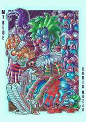 MY BLUE - season one - 12 (Chris Nazza) Tags: blue people night clown guns thugs ballpoint thuglife evilclown ballpointpen macabredoll chrisnazza girls dog illustration ink cat comics mouse skull monkey stripes ballon criminal rats demon redshoes fusca characterdesign beetlecar