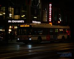 A BC Transit New Flyer D40LF Giving Season's Greetings Past the Victoria, BC McDonald's (AvgeekJoe) Tags: 1998newflyerd40lf d40lf d5300 dslr newflyer newflyerd40lf newflyerbus nikon nikond5300 tamron18400mm tamron18400mmf3563diiivchld night nightphoto nightphotograph nightphotography nightshot