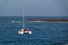 Los Cristianos, Tenerife, Canary Islands (wildhareuk) Tags: canaryislands canon canoneos500d sea seascape spain tamron18270mm tenerife tenerife2019 water boat catamaran rock tamron img9717dxo