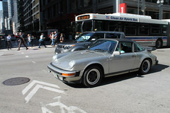 Targa (Flint Foto Factory) Tags: chicago illinois urban city summer july first july1 downtown loop madison clark intersection porsche 911 targa vintage 1980s 80s moving motion inmotion evening pm rushhour cta chicagotransitauthority bus german germany import grand touring tourer gt sportscar worldcars cleanairhybridbus