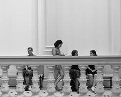 Museum Moment (Mondmann) Tags: renwickgallery gallery museum smithsonianinstitution people railing sitting monochrome bw blackandwhite artmuseum modernartmuseum candid washingtondc usa unitedstates america mondmann fujifilmxt20