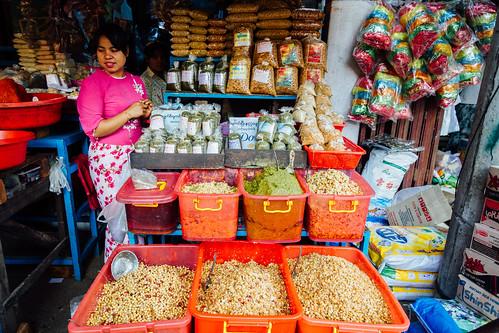 Selling Fried Beans for Lahpet Thoke, Monywa Myanmar - a