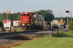 Sand City (view2share) Tags: cn2118 cn canadiannational summer weyerhaeuser barronsub ruskcounty rural fracsand frac sand sandmining wisconsin wi westbound westernwisconsin c408 ge generalelectric branchline branch northwoods northwood 519 l519 cn519 cnl519 deansauvola june292019 june2019 june 2019 rr railway railroading railroads rail railroad rails railroaders rring roadtrip transportation track tracks transport trains trackage trees train freight freighttrain freightcar freightcars warm dash8 milepost yard switch switching switches switcher sw1500 signal