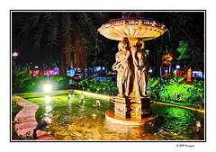 lighted statue (harrypwt) Tags: street city light horse statue night java framed solo cart borders surakarta andong harrypwt fujix70 reflections