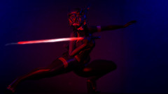 Midnight Havoc. (Ern.) Tags: secondlife second life genus project genusproject scifi led laser sword glow bat cyberpunk cyber doux valr lightsaber ghoul the forge theforge red blue future