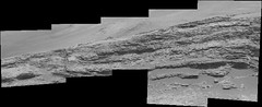 Layered Rocks in Gale Crater (encoded) (sjrankin) Tags: 3july2019 edited nasa mars msl curiosity galecrater dust panorama rocks layers layered mountains grayscale bayerencoded mountsharp