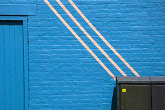 Lines on a Blue Wall (Tawny042) Tags: london city urban wall lines blue pattern d80 nikon