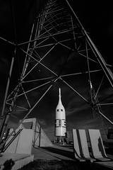 Rollback of Orion's Ascent Abort-2 Test, variant (sjrankin) Tags: 3july2019 edited nasa rocket spacecraft test artemis aa2 ascentabort2 orion florida las launchabortsystem grayscale ksc20190701phjbs010116orig