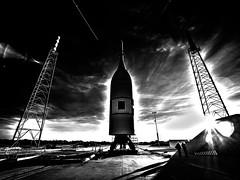 Sitting on the Pad 1, variant (sjrankin) Tags: 3july2019 edited nasa rocket spacecraft test artemis aa2 ascentabort2 orion florida las launchabortsystem grayscale