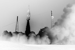 Ascent Abort-2 Liftoff, variant (sjrankin) Tags: ascentabort2 aa2 orion launchabortsystem las aborttest moontomars launchpad46 artemis2 3july2019 edited nasa rocket spacecraft test artemis florida grayscale