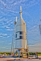 Rollback of Orion's Ascent Abort-2 Test (sjrankin) Tags: orion ascentabort2 aa2 launchabortsystem las aborttest moon launchpad46 rollback artemis artemis2 3july2019 edited nasa rocket spacecraft test florida