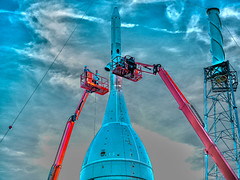 Checking Under the Hood, variant (sjrankin) Tags: 3july2019 edited nasa rocket spacecraft test artemis aa2 ascentabort2 orion florida las launchabortsystem