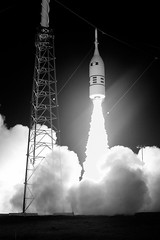 Ascent Abort-2 Liftoff, variant (sjrankin) Tags: 3july2019 edited nasa rocket spacecraft test artemis aa2 ascentabort2 orion florida las launchabortsystem grayscale