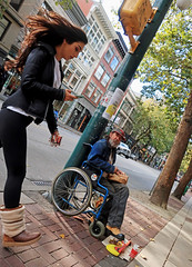 No Time (HereInVancouver) Tags: homeless onthestreet wheelchair begging youngwoman texting strollingby street sidewalk city urban gastown vancouver bc canada notime candid streetphotography canong9x