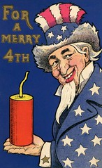 Uncle Sam and His Giant Firecracker for a Merry Fourth of July (Alan Mays) Tags: ephemera postcards greetingcards greetings cards paper printed independenceday fourthofjuly 4thofjuly july4 july4th 4th fourth holidays patriotic stars stripes unclesam men clothes clothing hats beards fireworks firecrackers caricatures humor humorous funny comic illustrations red white blue yellow 1910s antique old vintage typefaces type typography fonts ullman ullmanmfgco ullmanmanufacturingco postcardpublishers newyorkcity ny newyork americanpostcard independencedayseries postcardseries series