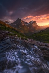 Into The Valley (Ryan Dyar) Tags: storm stream creek waterfall mountains mountain sunrise sunset montana ryandyar glaciernationalparj glacier
