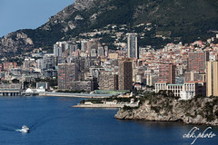 Monaco, hotspot at the Cote d'Azur (chk.photo) Tags: ocean landschaft outdoor landscape water light skyscraper architektur yacht frankreich france ship skyline boot architecture mountain flickrtravellaward boat flickr meer coted'azur monaco wolkenkratzer montecarlo