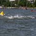 Schwimmwettkampf der Profisportler beim Ironman Triathlon in Lahti, Finnland