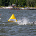 Swimming competition of professional athletes during the Ironman 70.3 Triathlon in Lahti, Finland