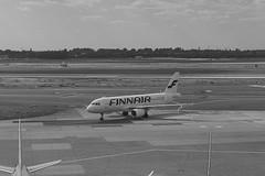 Duesseldorf_Airport_07 (rhomboederrippel) Tags: rhomboederrippel fujifilm xe1 june 2018 europe düsseldorf flughafen rheinruhr airport dus eddl ramp plane bw monochrome finnair a320 ohlxl germany