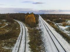 Осенняя тема, железная дорога, развилка, под мостом (Nanaccept) Tags: железная дорога развилка октябрь осень снег холода лес облака сиреневый nanaccept cmm
