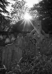 Churchyard (EricMakPhotography) Tags: hempstead church courtyard sunset starburst blackwhite