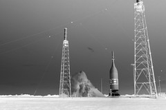 Ascent Abort-2 Liftoff, variant (sjrankin) Tags: ascentabort2 aa2 orion launchabortsystem las aborttest moontomars launchpad46 artemis2 3july2019 florida rocket spacecraft exhaust plume test nasa edited grayscale