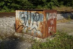GNA (Restless Eye) Tags: oakridge tennessee usa box rust wayne railroad graffiti