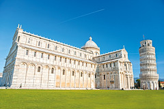 Pisa, Piazza dei miracoli. (Girolibero Cycling Holidays) Tags: architecture cathedral church europe history italy medieval roman tourism travel tuscany art attraction balcony basilica building catholic christian colorful construction culture dome duomo editable exterior famous florence heritage historic holiday image italian landmark leaning marble miracle monument perspective pisa religion renaissance render sight structure style tourist tower view wonder