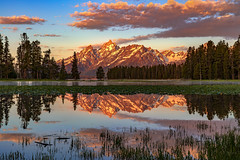 Mountains in the Marsh (LonesomeLandscapes.com) Tags: grandtetons tetons grandtetonnationalpark mountains sunrise reflection morning nature landscapephotography sky pond marsh