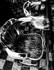 Old Bar Chairs (MassiveKontent) Tags: streetphotography montreal bw contrast city monochrome urban blackandwhite streetphoto montréal quebec photography bwphotography streetshot noiretblanc blancoynegro urbandecay chairs bar absoluteblackandwhite