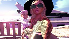 Ready for sunset sailing.. (bellesonsie) Tags: secondlife sl sun summer sea sunbathe shadows baby body beauty beach avatar catwa boat seat seaside face female glasses head hat tattoo water waves zooby