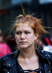 Portrait (D80_532878) (Itzick) Tags: denmark copenhagen candid color colorportrait redhead redhair streetphotography youngwoman earrings face facialexpression portrait d800 itzick