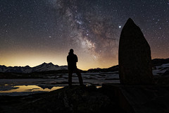 At the water shed (eichlera) Tags: switzerland grimsel pass milkyway stars night sky mountains alps lake totensee watershed