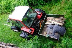 THE PASTURE FENCE MUST BE COMPLETED (LitterART) Tags: weidezaun kippmulde traktor heckcontainer zaunstipfl fence zaun bergbauer mountainfarm rain regen steiermark lindner sonyrx100