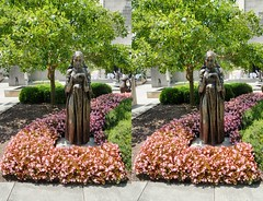 """Sculpture titled """"The Visitation"""" by Jacob Epstein at the Baltimore Museum of Art. (Bill A) Tags: stereo3d sculpturegarden stereoscopic jacobepstein baltimoremuseumofart parallelview sculpture metalsculpture stereoscopic3d"""