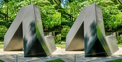 A sculpture by Tony Smith in the Sculpture Garden of the Baltimore Museum of Art. (Bill A) Tags: stereo3d sculpturegarden stereoscopic baltimoremuseumofart tonysmith parallelview sculpture metalsculpture stereoscopic3d