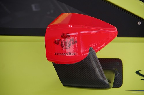 Prince's Trust on the Wing Mirror of an Aston Martin Vantage