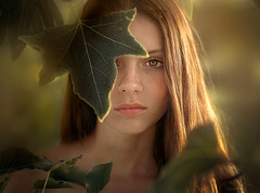Obsurred ({jessica drossin}) Tags: jessicadrossin woman girl green summer olive face freckles eyes leaves leaf tree wwwjessicadrossincom portrait teen people